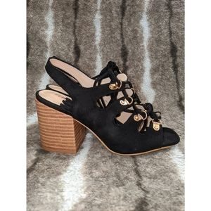 PUBLIC DESIRE Lace Up Black Suede Chunky Heel